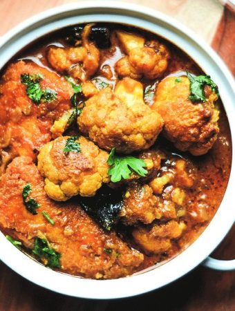 Bengali style fish curry with cauliflower and eggplant